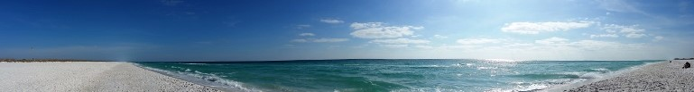 Florida panhandle beach panorama.
