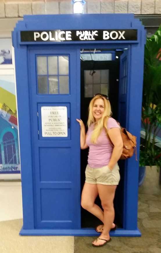 It's the TARDIS! Apparently, Pensacola Airport allows landing of spaceships.