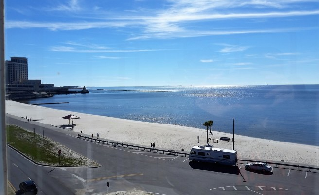 The Biloxi coastline from the top of the lighthouse.