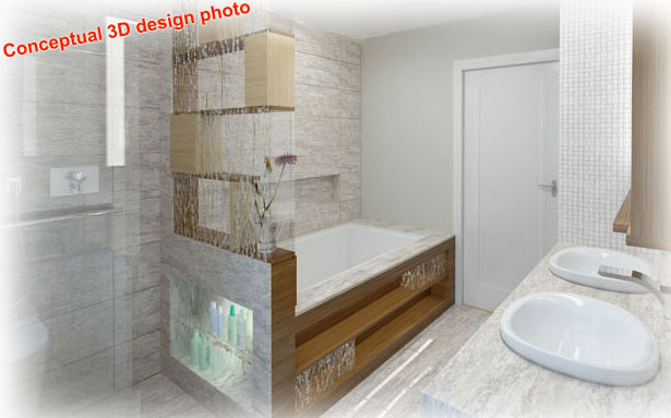 3D conceptual design for home, showing bathroom