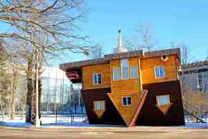 MOSCOW - JANUARY 28: Upside down house in the Russian Exhibition Center on January 28 2014 in Moscow