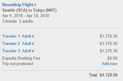 Airfare $4,129.08 USD
