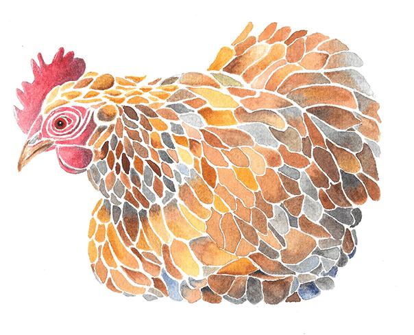 Mosaic Chicken (Watercolor)