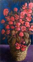 "Wax Begonias, oil, 18x32"", n/a"