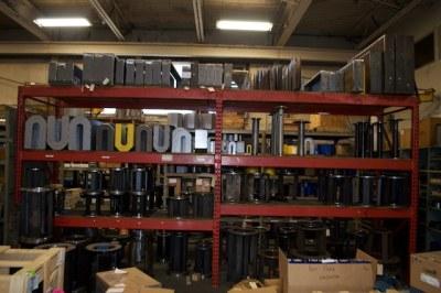 Kerr pump parts on shelves