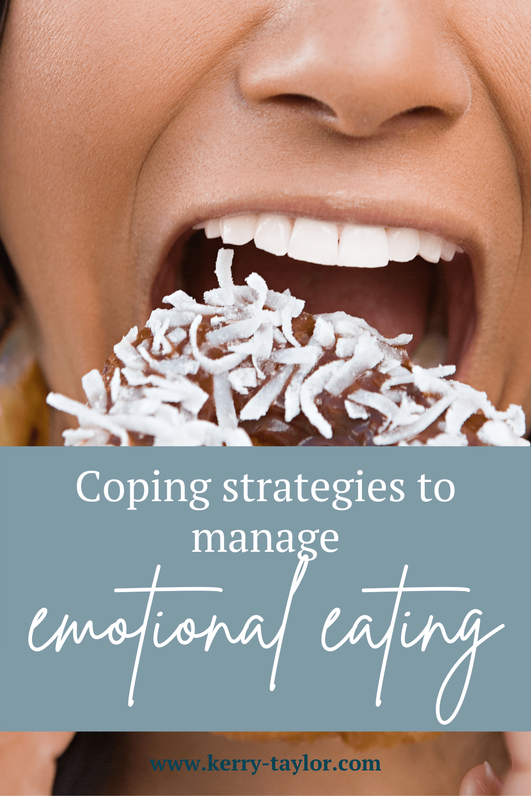 Pinnable graphic with post title coping strategies to manage emotional eating