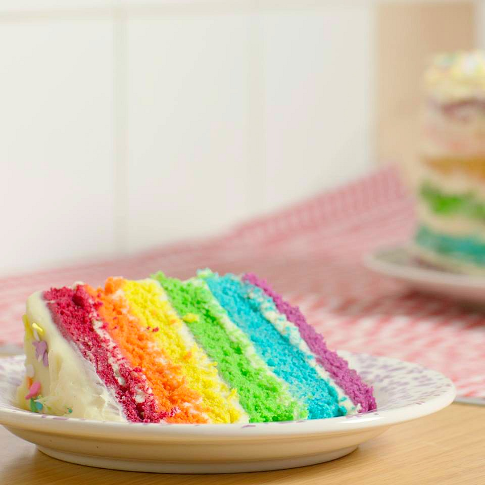 If you want to make yourself an Easy 6-Layer Rainbow Cake, you came to the right place! You'll love this cake if you're a big kid at heart (and real kids love it too of course!).