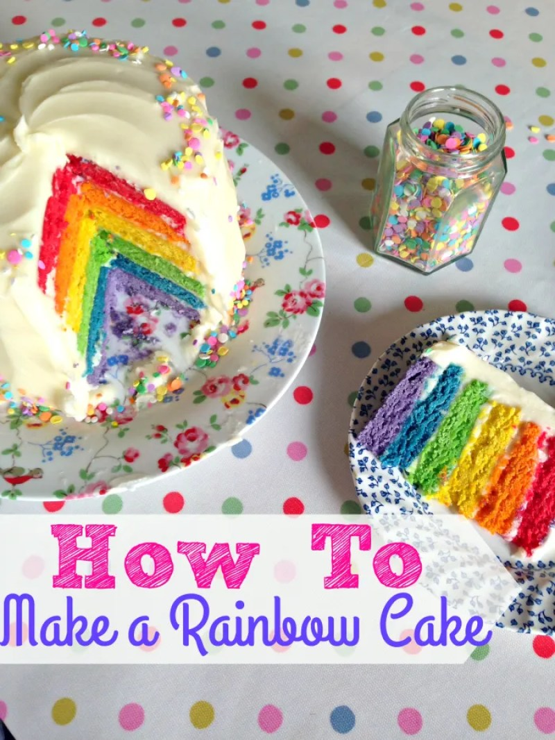 A super easy tutorial to make a stunning and delicious Six Layer Rainbow Cake! Perfect for childrens (and big kids!) birthday parties, it's made with a failproof Victoria Sponge mixture and cream cheese frosting.