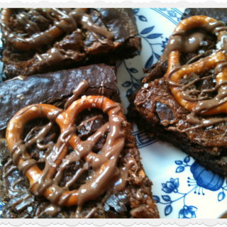 Chocolate Fudge Pretzel Brownies with Peanut Butter