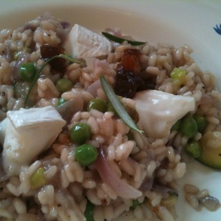 Summer vegetable risotto with goat's cheese and caramalised red onion