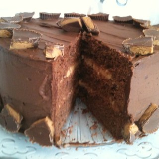 Chocolate Fudge Peanut Butter Cup Layer Cake