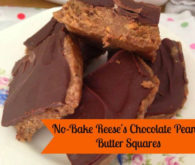 No-Bake Reese's Chocolate Peanut Butter Squares - recipe at kerrycooks.com