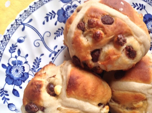 Chocolate Chip Hot Cross Buns