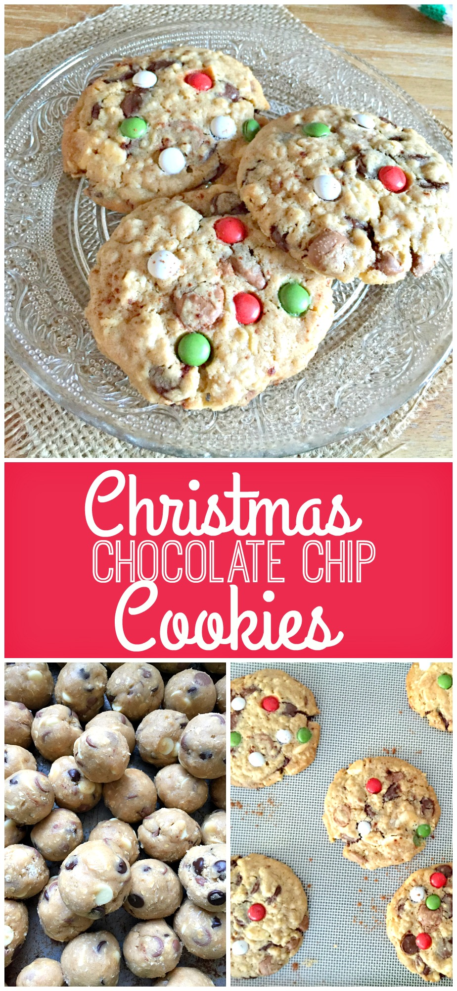 Delicious Christmas Chocolate Chip Cookies with yummy cinnamon and oaty texture! Perfect for Santa... or just for you!