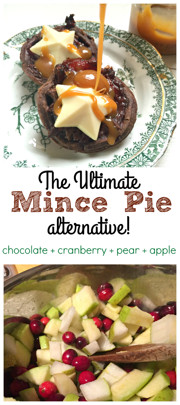 The Ultimate Chocolate {Not} Mince Pie - with cranberry, apple and pear in chocolate shortcrust pastry!