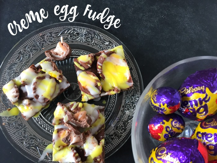 A simple and easy recipe for Cadbury Creme Egg Chocolate Fudge! Only FOUR ingredients and a few minutes to make.