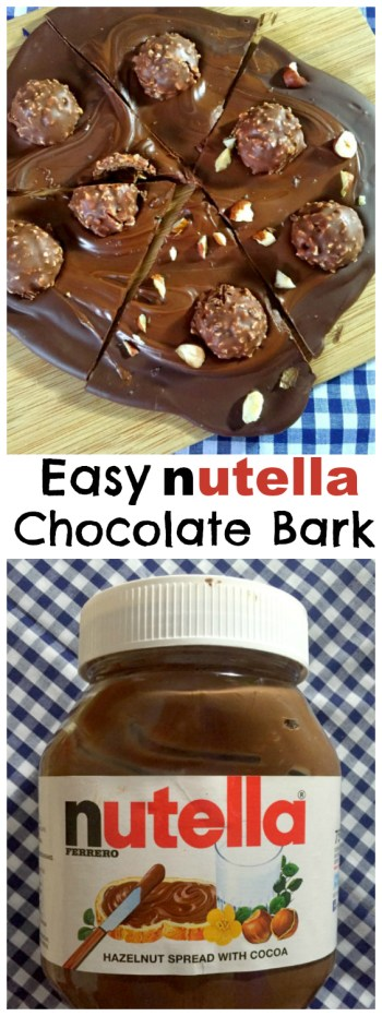 Nutella swirled with melted chocolate, topped with Ferrero Rocher & hazlenuts! 5 mins, 4 simple ingredients! How to make Easy No Bake Nutella Chocolate Bark... the perfect recipe for Nutella addicts