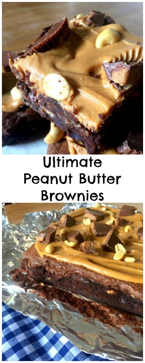 Ultra fudgy Gooey Peanut Butter Chocolate Fudge Brownies... topped with delicious Peanut Butter and Reese's cups! The ultimate peanut butter lovers recipe