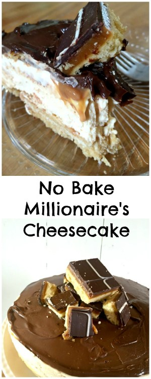 A showstopping and delicious no bake cheesecake based on Millionaire's Shortbread! Shortbread Base, Caramel Cheesecake and Chocolate Ganache on top! No Bake Millionaire's Shortbread Cheesecake Recipe