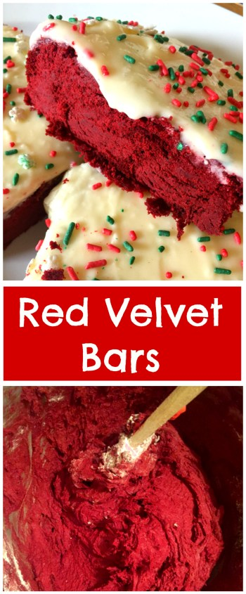 Deliciously thick and chocolatey Red Velvet Bars, topped with a tangy Cream Cheese Frosting! Like a cross between a cookie and a cake!