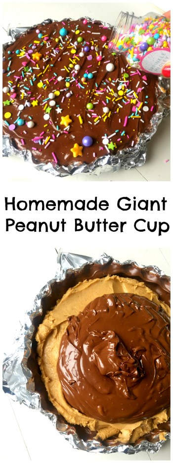 The ridiculously simple and delicious way to make an Easy Giant Peanut Butter Cup! Only FIVE ingredients, no baking and ten minutes of your time!