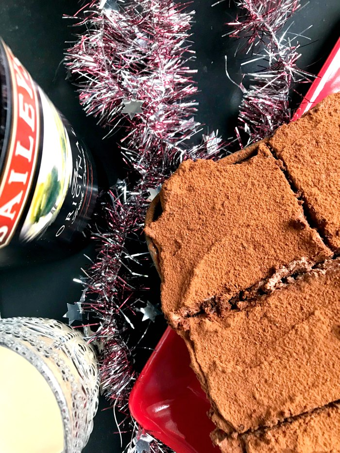 Really indulgent and chocolatey Bailey's Chocolate Fudge Brownies with a chocolate Bailey's layer on top - perfect for the Bailey's lover in your life!