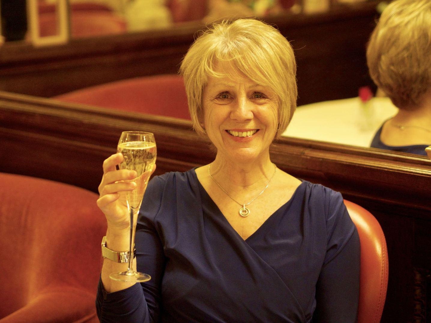 Mum enjoying her champagne