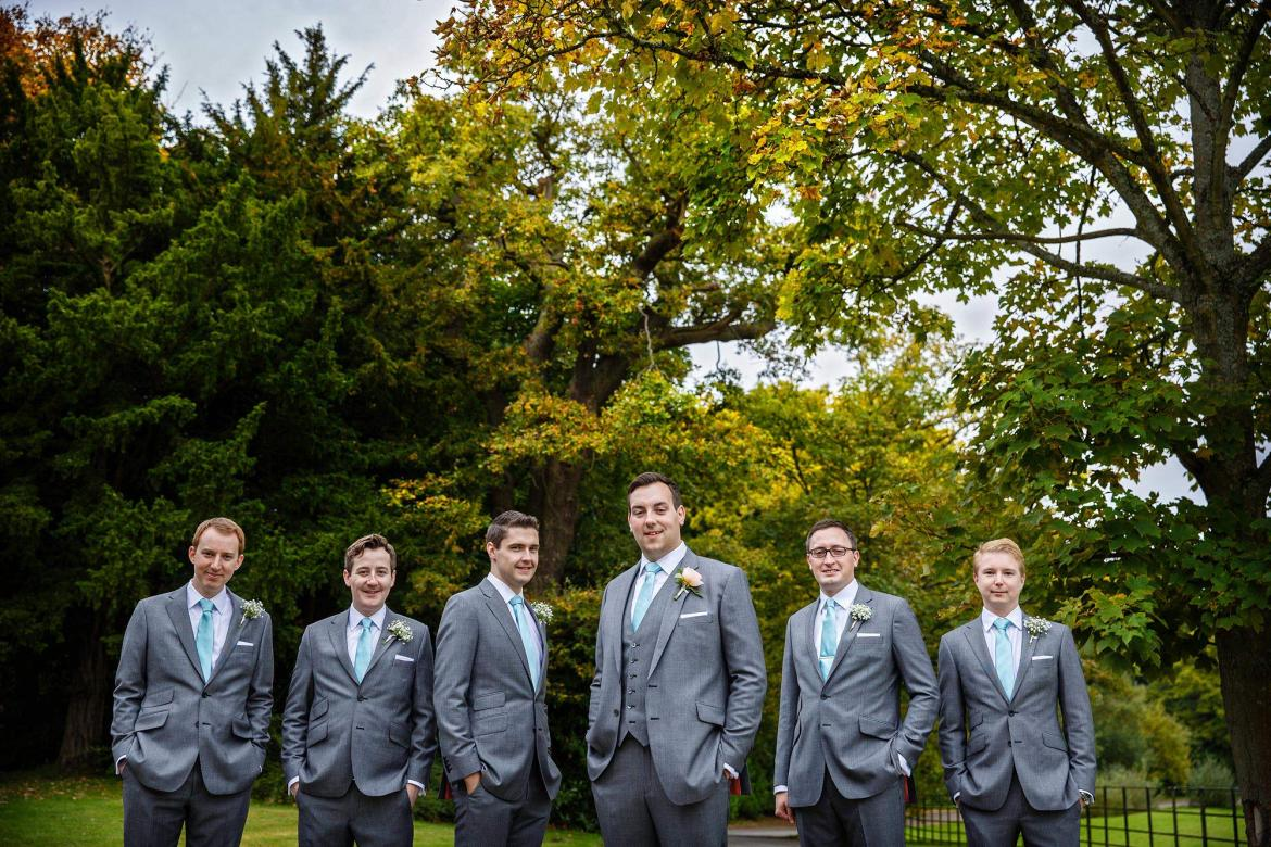 groom and ushers at Botkey's mansion october wedding