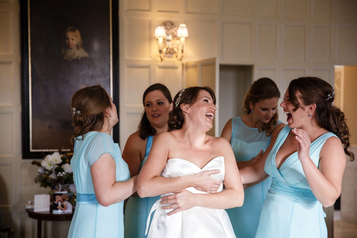 bride getting ready for Cliveden House Wedding