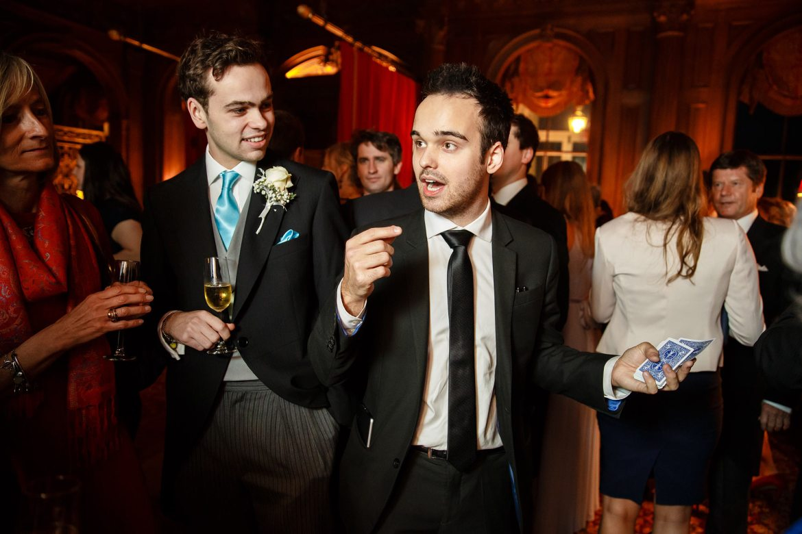 magician at winter wedding Cliveden House