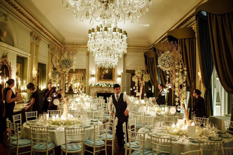 staff at winter wedding Cliveden House