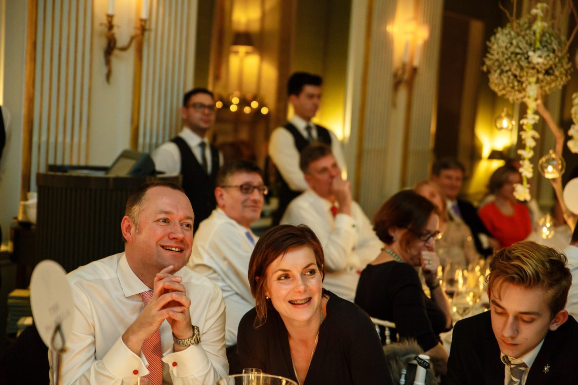 laughing at Cliveden House Wedding