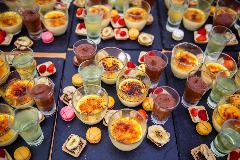mini desserts at wedding
