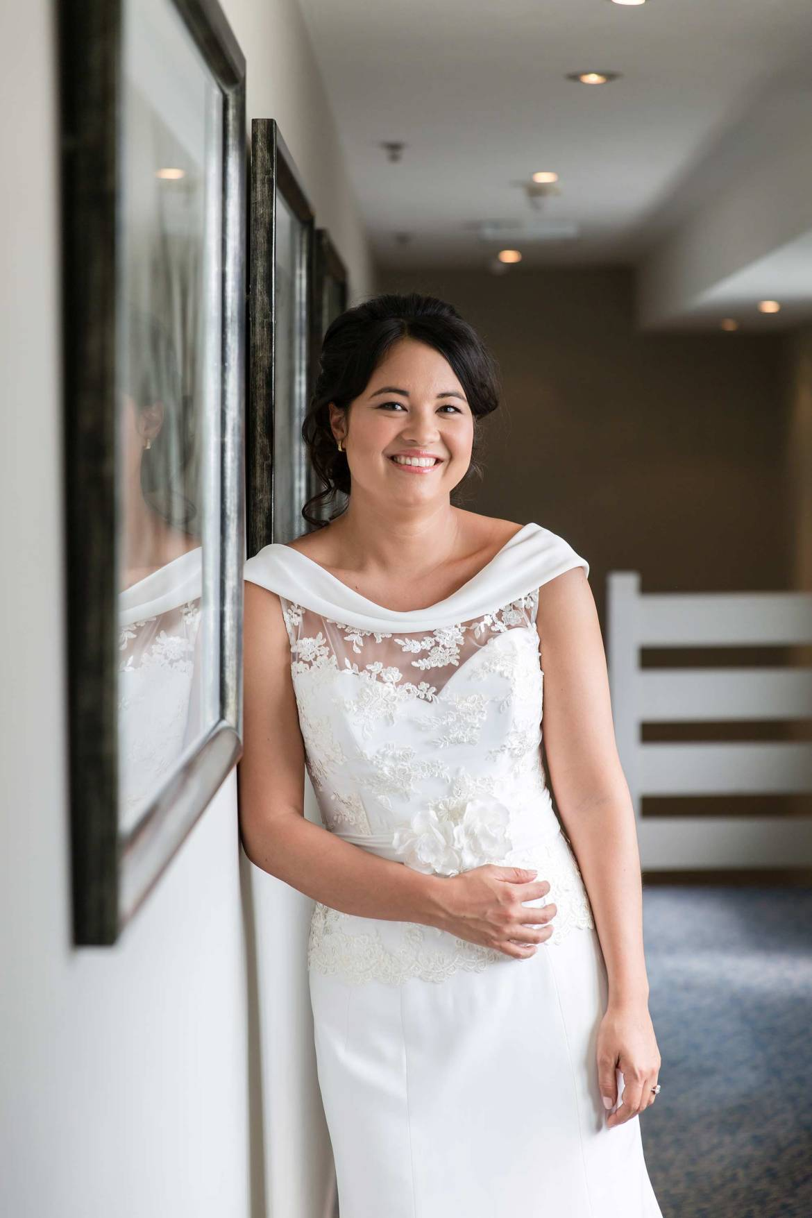 Portrait of Rachel all ready for her Goodwood House Wedding
