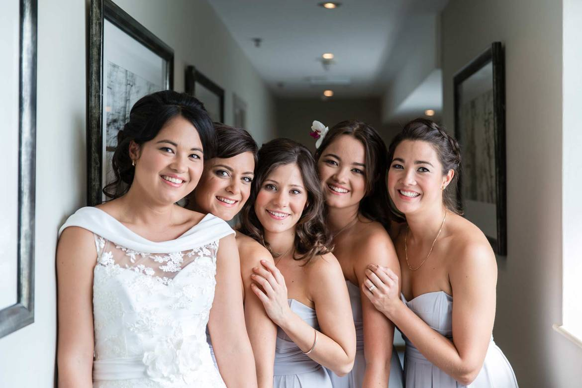 Portrait of the bridesmaids and Rachel at Goodwood House wedding