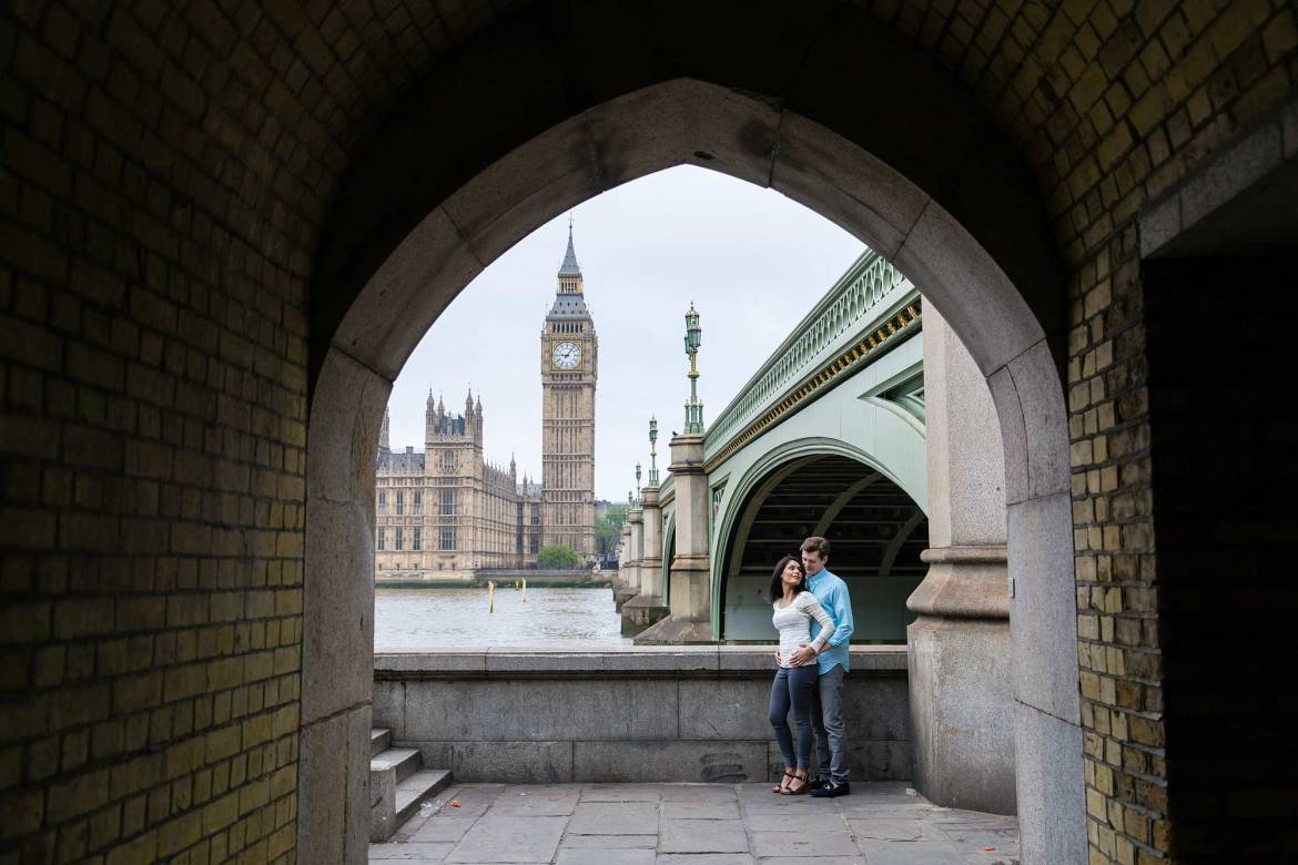 Couple on London Engagement Shoot Westminter area