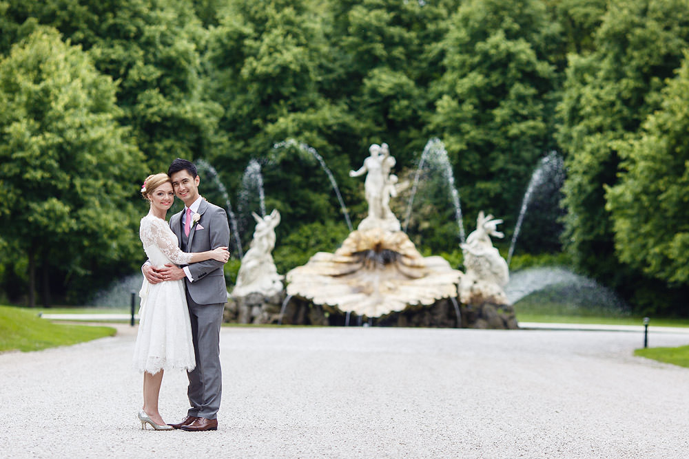 Standing in front of the beautiful fountain at Cliveden