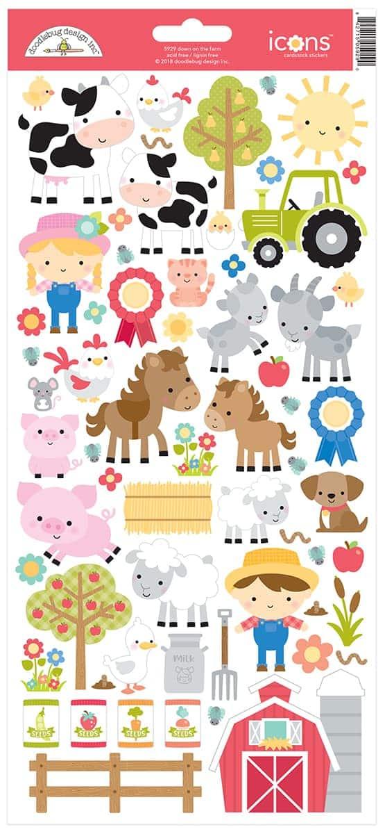 Doodlebug Design 6x12 Icon Stickers Down on the Farm