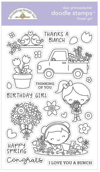 Doodlebug Design Doodle Stamps Flower Girl