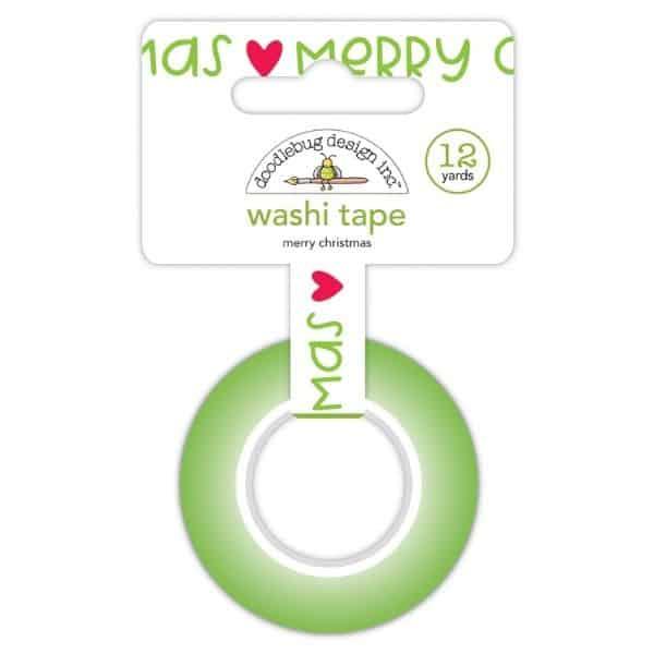 Doodlebug Design Washi Tape Green Merry Christmas