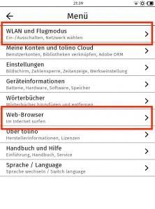 Beim Tolino könnt Ihr das WLan unter dem ersten Menüpunkt einschalten und einrichten. Ins Menü gelangt Ihr, indem Ihr auf die drei Striche oben links klickt. Den Webbrowser findet Ihr als sechsten Menüpunkt.