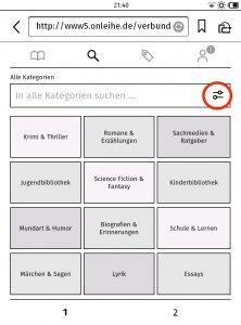 Screenshot 3: Durch Antippen des markierten Symbol gelangt Ihr in die Sucheinstellungen