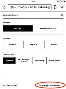 """Screenshot 4: Sucheinstellungen können durch Antippen von """"Änderungen übernehmen"""" gespeichert werden."""