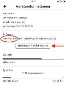 """Screenshot 8: unter """"Geräteinformationen"""" kann nach neuen Updates gesucht werden."""