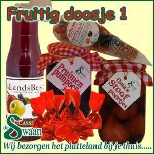 Kerstpakketten voor de vrouw Fruitig doosje 1 - streek kerstpakket gevuld met huisgemaakte streekproducten - www.kerstpakkettencadeaubon.nl