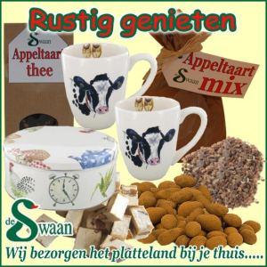 Kerstpakket Rustig genieten - streekpakket gevuld met diverse soorten thee en boeren streekproducten - www.kerstpakkettencadeaubon.nl