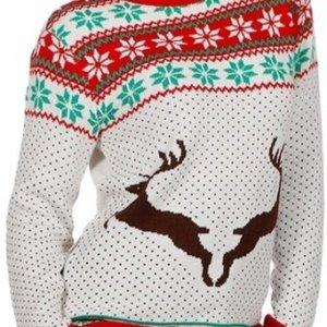 Witte dames kersttrui met rode tricot manchetten aan de hals, mouwen en taille. De kersttrui is versierd met Noorse patronen op borsthoogte en er staan twee rendieren op de buik.