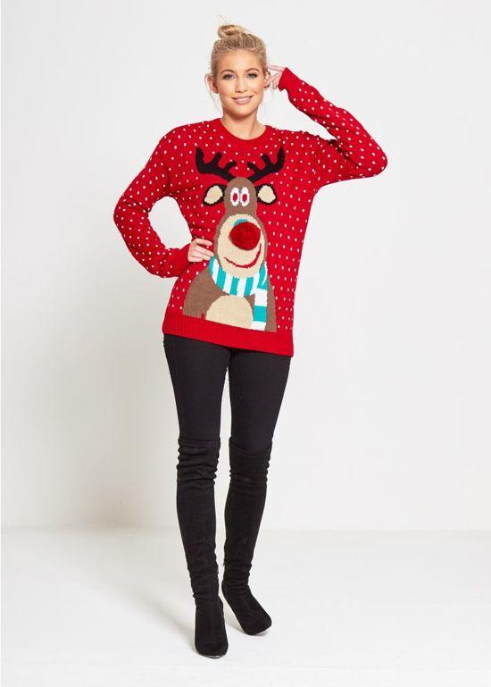 Rode dames kersttrui met een print van Rudolf aan de voorzijde, die is voorzien van een rode 3D neus. De kersttrui is versierd met witte stippen en heeft tricot manchetten aan de hals, mouwen en taille.