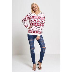 Witte dames kersttrui met tricot manchetten aan de hals, mouwen en taille. De kersttrui is versierd met rode en witte Noorse patronen, zoals hartjes, rendieren en sneeuwsterren.