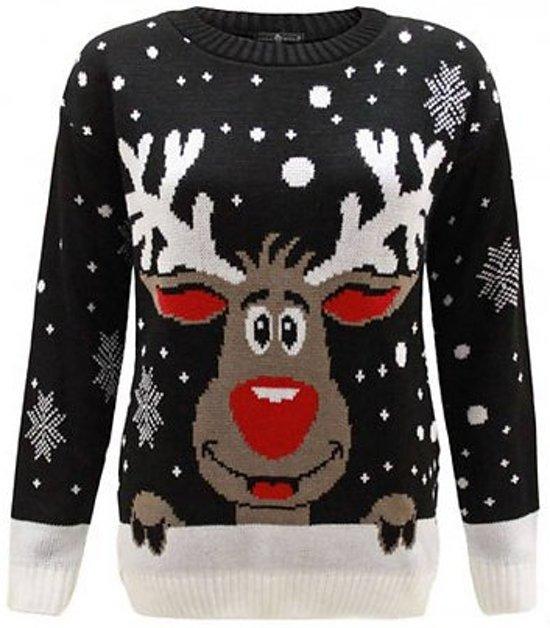 Foute Kersttrui Xl.Dames Kersttrui Red Nose Zwart L Xl Kersttruienkopen Nl